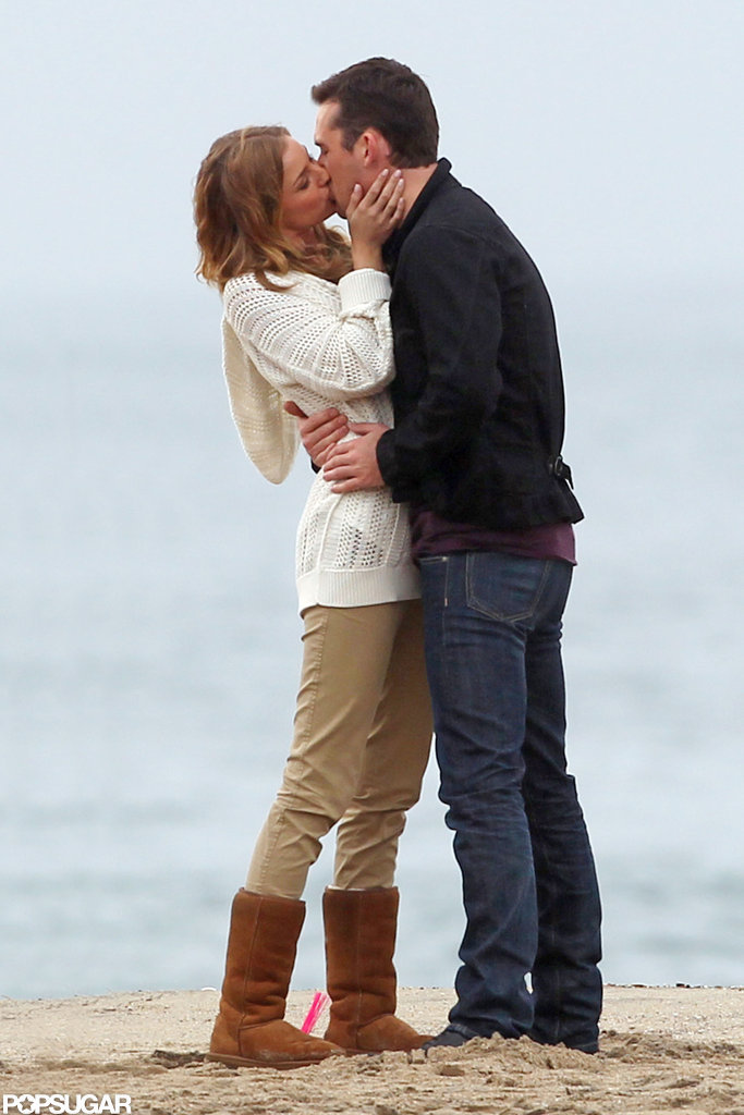 Emily VanCamp passionately kissed costar Barry Sloane on the set of Revenge.
