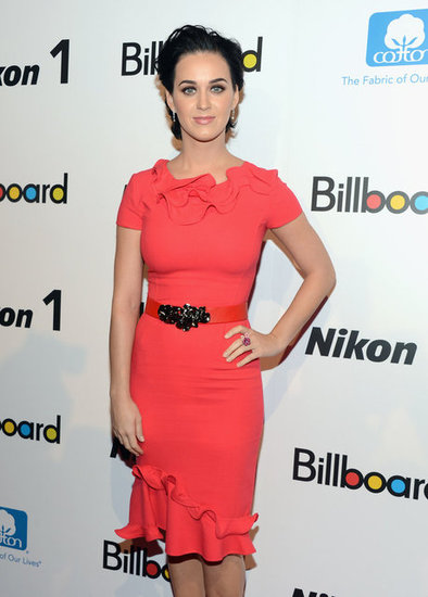 Katy Perry wore a bright red dress to Billboard's Women in Music event in NYC.