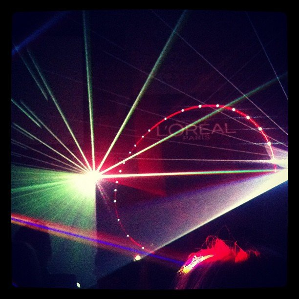 All the pretty lights! BellaSugar got treated to a pretty laser show at a L'Oreal Paris launch.