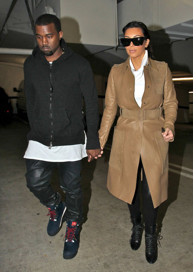 Kanye West and Kim Kardashian held hands in LA in December 2012.