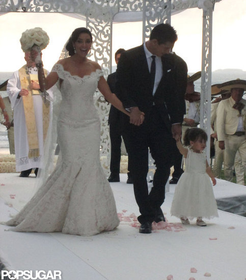 Mario Lopez and Courtney Mazza had their 2-year-old daughter by their side as they tied the knot near Punta Mita, Mexico, in December.