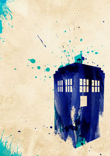 TARDIS Watercolor Print