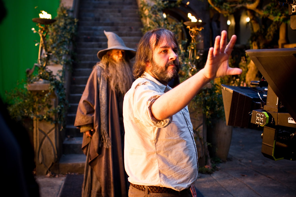 Ian McKellan and Peter Jackson behind the scenes of The Hobbit: An Unexpected Journey.