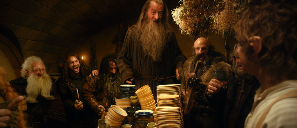 Ken Stott, Aiden Turner, William Kircher, Ian McKellan, Graham Tavish, Mark Hadlow, and Martin Freeman in The Hobbit: An Unexpected Journey.
