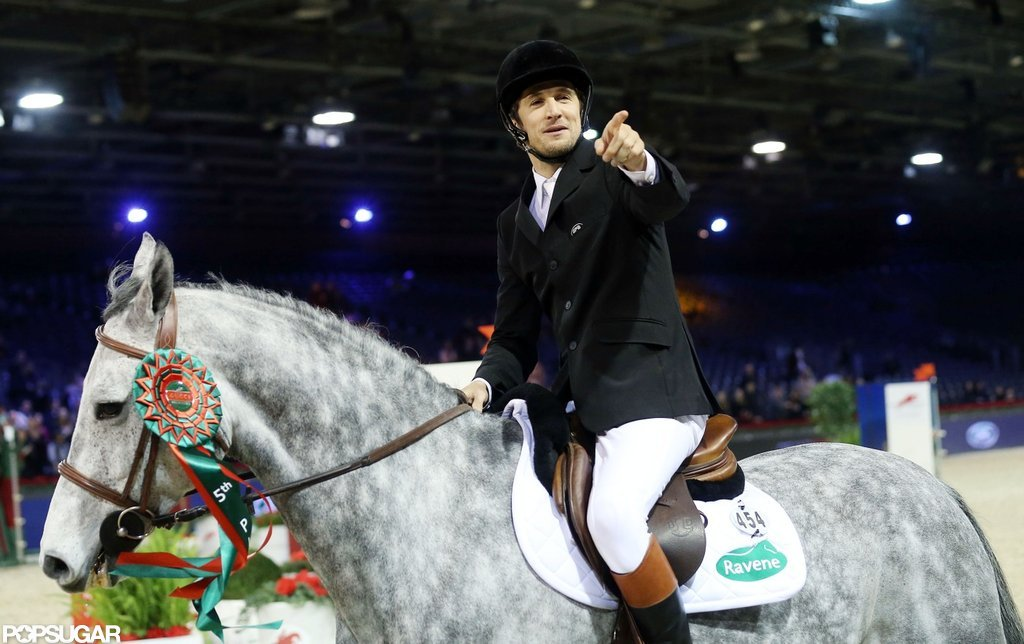 Guillaume Canet showed off his skills on a horse at the Paris Masters.
