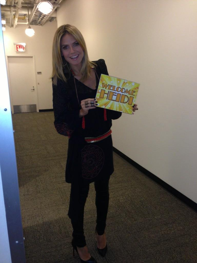Heidi Klum got caught backstage at Good Morning America. Source: Twitter user heidiklum