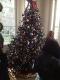 At the East Landing, one of the White House's 54 trees had a theme honoring military families. First Lady Michelle Obama especially loves this room, which is dedicated to gold-star families, those who have lost loved ones in war.
