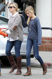 Reese Witherspoon wore a sweater and boots for breakfast with her kids in LA.