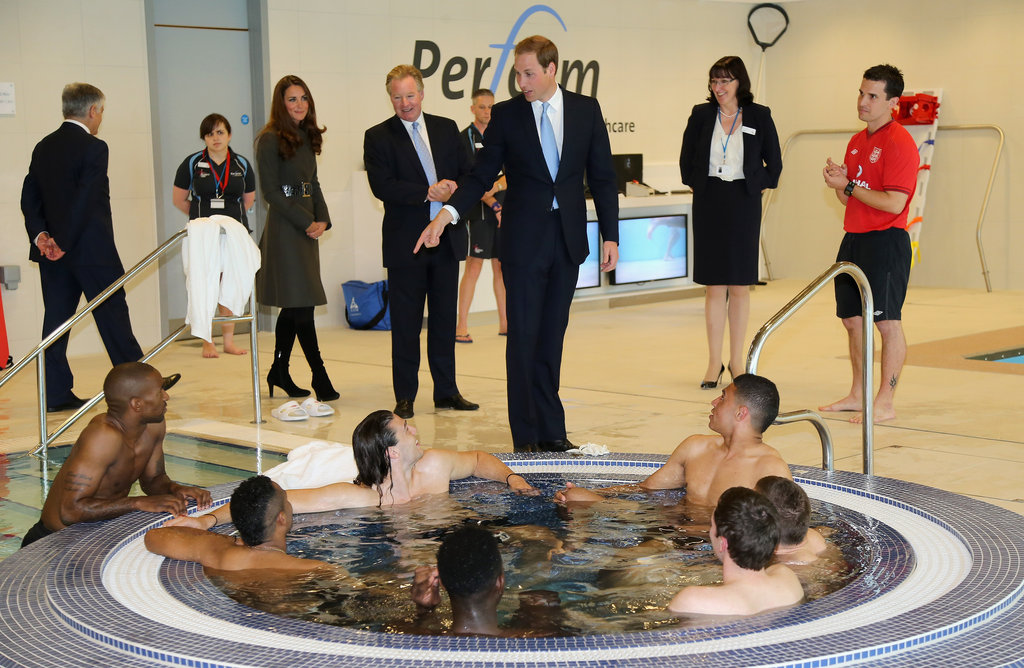 Kate Middleton and Prince William saw soccer players enjoying the hydrotherapy suite during the official launch of The Football Association's National Football Centre at St George's Park in October.
