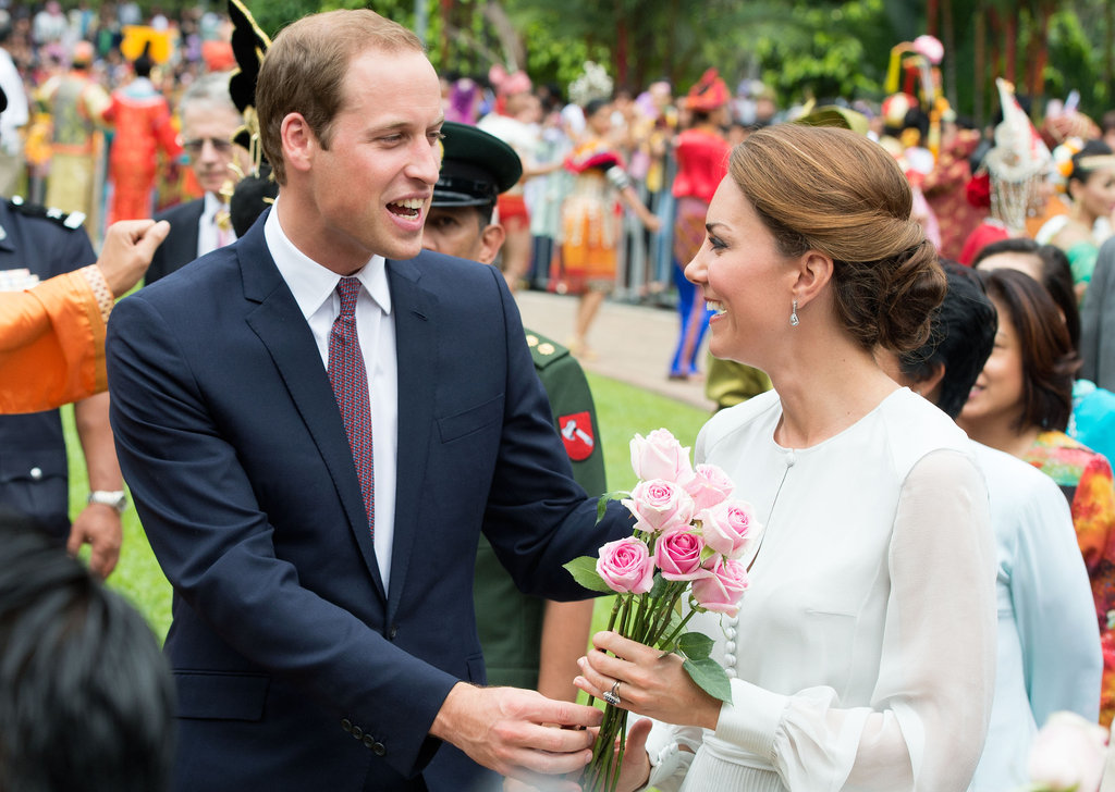 In September 2012, William presented Kate with flowers during a stop in Kuala Lumpur.