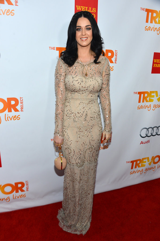 Katy Perry lit up the red carpet in a gorgeous Marchesa Resort '13 gown, complete with a Temperley London purse and Charlotte Olympia heels.
