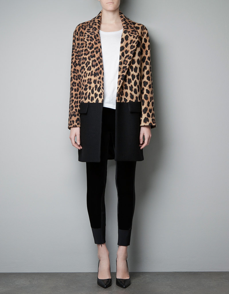 I've been wanting a leopard-print coat, well, since I saw Kate Moss wearing hers. This Zara Leopard Print and Color Block Coat ($229) has that wow-factor print, but I love that the black colorblocking tempers it just a tad. — Hannah Weil, associate editor