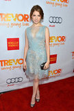 Anna Kendrick chose an ice-blue lace and tulle Georges Chakra Couture cocktail dress with sparkly Christian Louboutin heels.