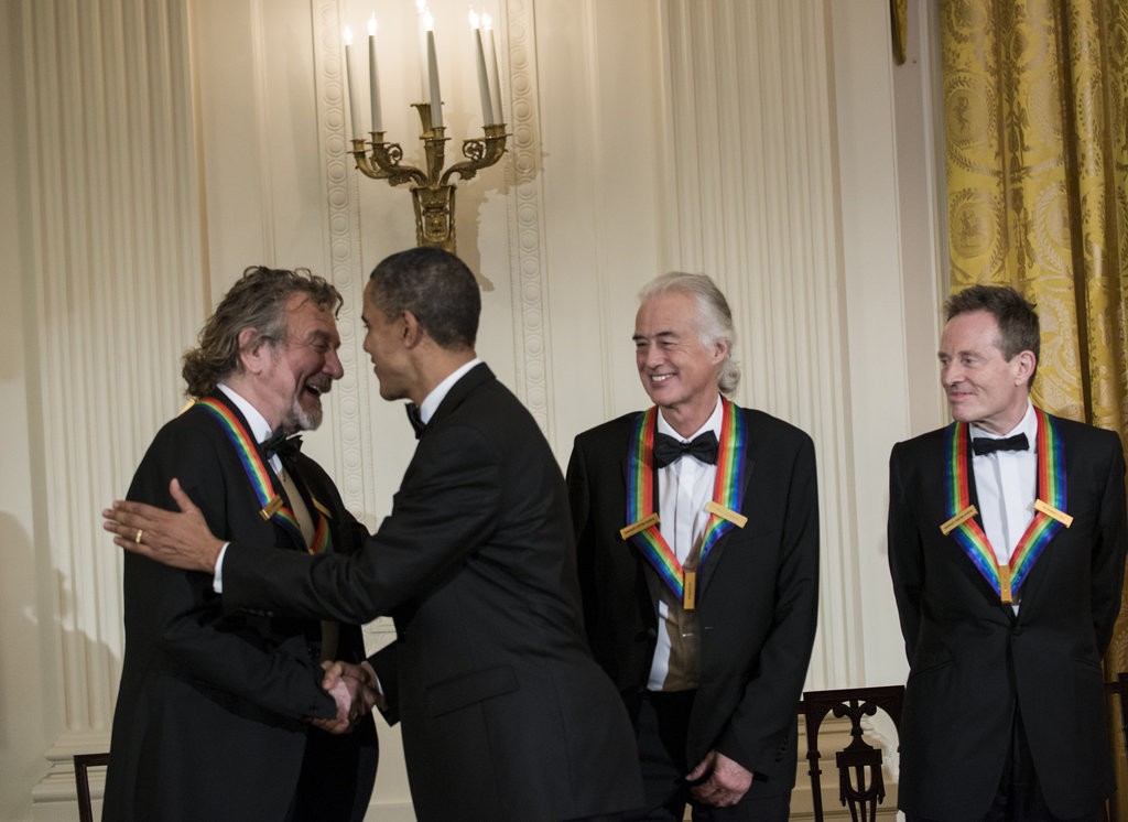 President Obama greeted honorees from Led Zeppelin Robert Plant, Jimmy Page, and John Paul Jones.