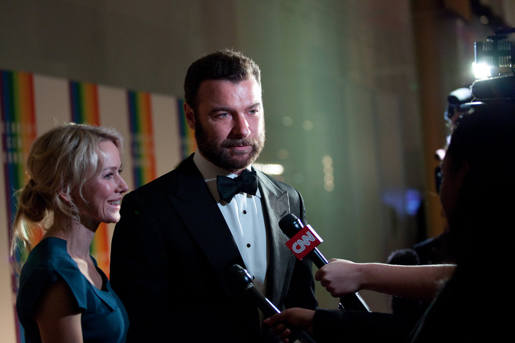 Naomi Watts and Liev Schreiber were interviewed on the red carpet.