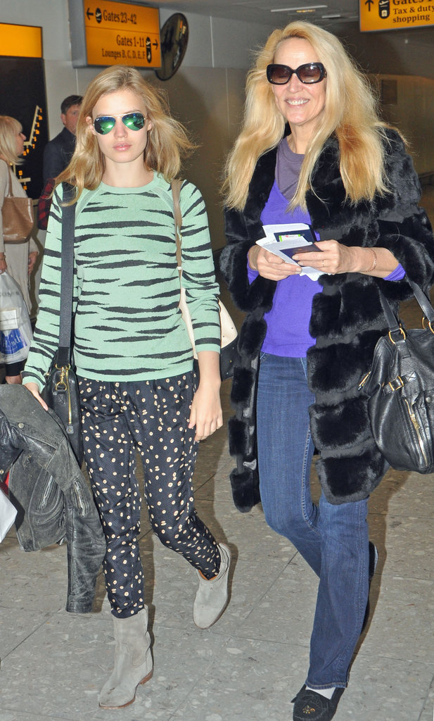 Georgia May Jagger and Jerry Hall know casual separates a best for traveling.