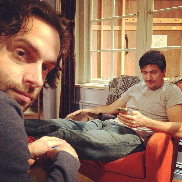 Whitney guest star Ken Marino chilled on the set with Chris D'Elia. Source: Instagram user therealwhitney