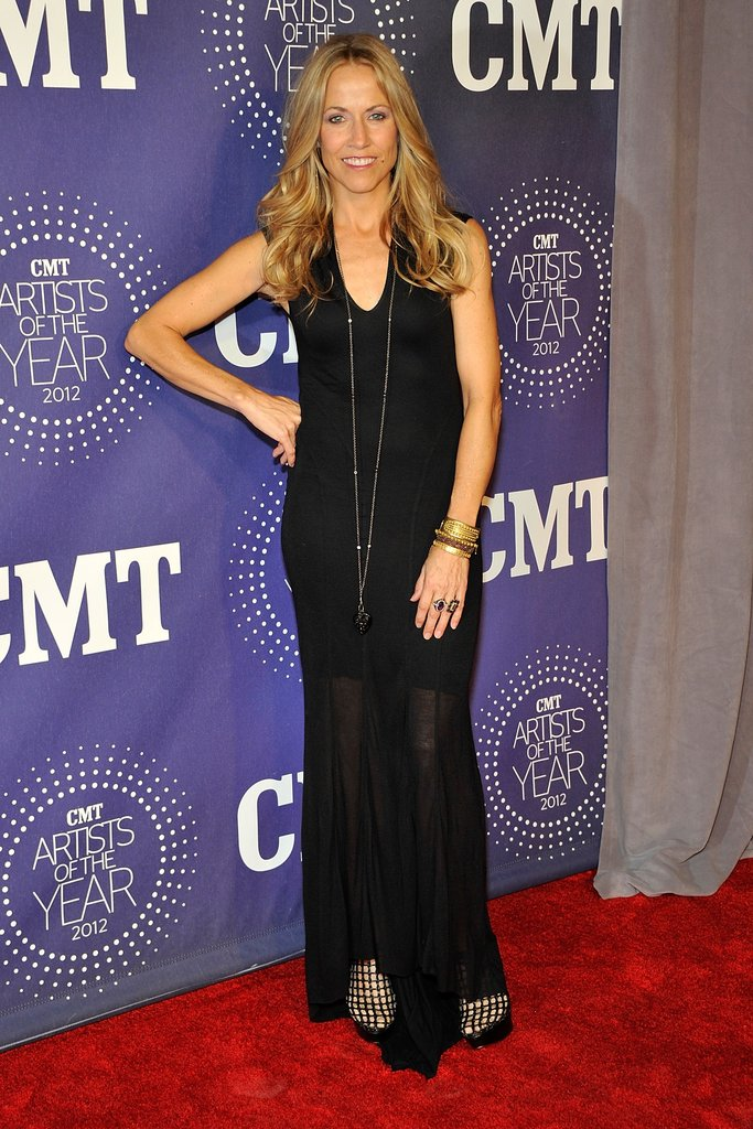 Sheryl Crow wore a long black dress.
