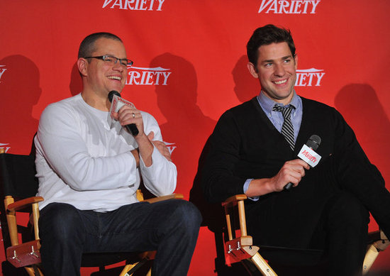 Matt Damon and John Krasinski spoke to the press at a screening of Promised Land in NYC.
