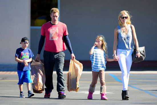 "Gwyneth Paltrow and Chris Martin took their kids, Apple and Moses, to Toys ""R"" Us in LA in October 2012."