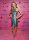 For sexy sequins, we'd recommend something slinky like Karlie Kloss's KaufmanFranco halter-style mini to showcase legs and shoulders.