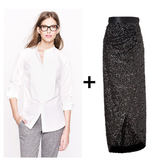 Immediately after we laid eyes on this fabulous black sequin maxi skirt, we knew we had to pair it with a crisp white tuxedo blouse. Just add a pair of strappy sandals, a bold red clutch, and matching red to dazzle the night away.  Get the look: Thomas Mason tuxedo shirt ($158) Rachel Zoe Abbey sequin skirt ($425)