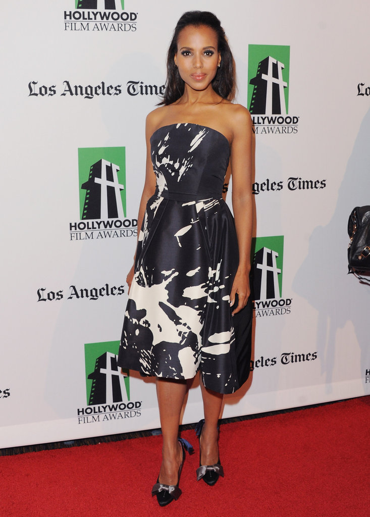 Take a page out of Kerry Washington's style manual and opt for a feminine fit-and-flare like her black-and-white Monique Lhuillier.