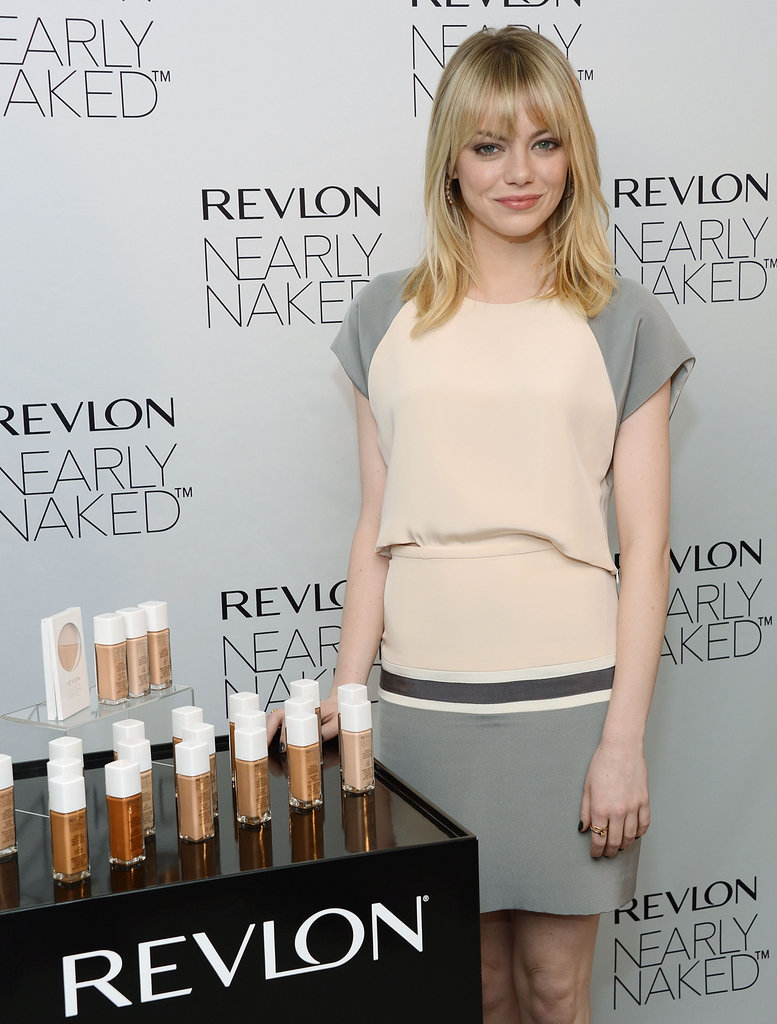 Emma Stone helped launch Revlon's new Nearly Naked makeup line in NYC.