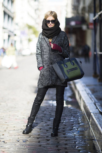 Let a great tote, luxe bag, and leather pants take your everyday look to chic-status. Source: Adam Katz Sinding