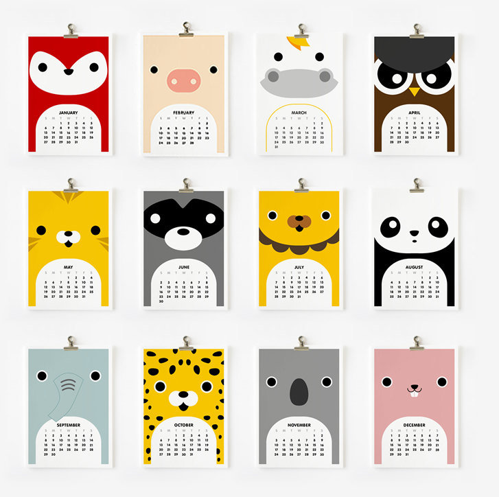 Loopzart Cute Animal Calendar