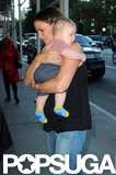 Jennifer Garner held Samuel Affleck close during her trip to NYC in August.