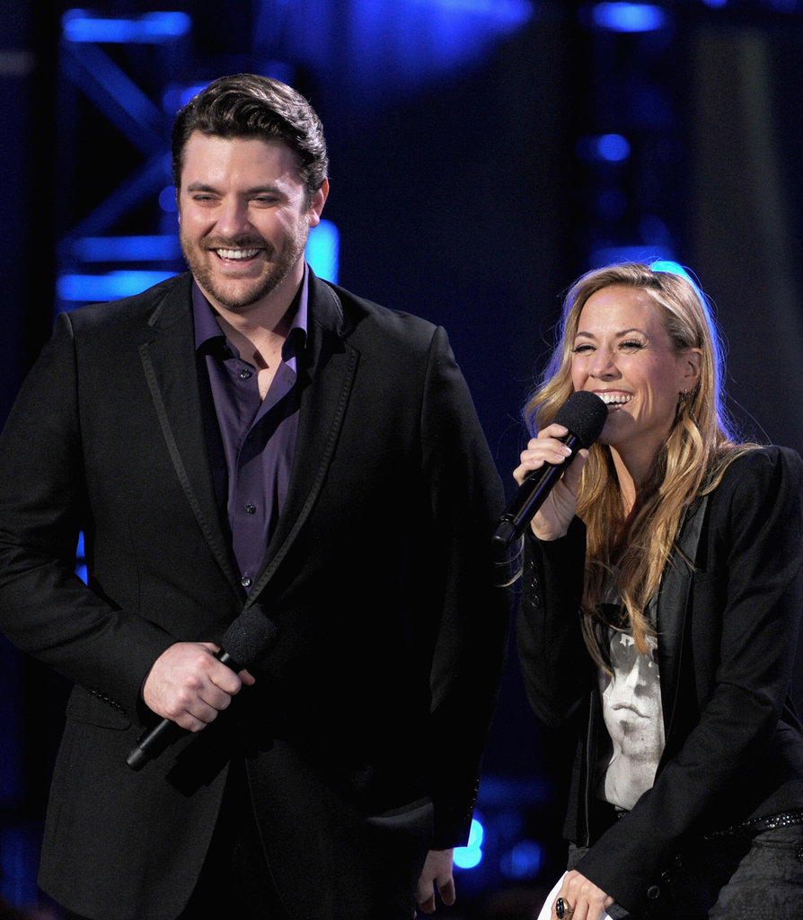 Chris Young and Sheryl Crow laughed on stage at the Grammy Nominations show.