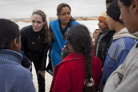 Angelina Jolie met with refugees in Jordan.