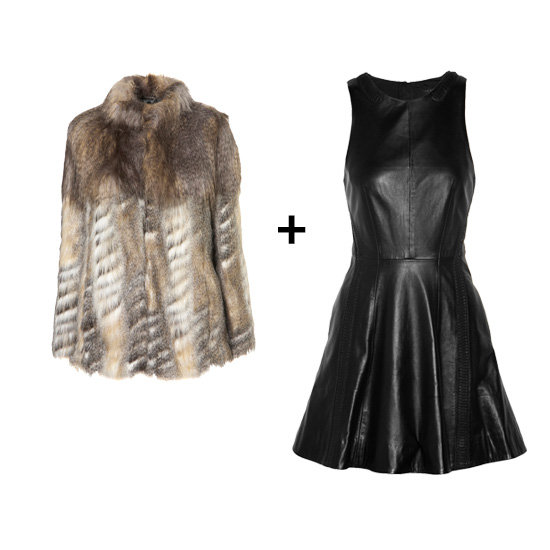 Fur Jacket + Leather Dress