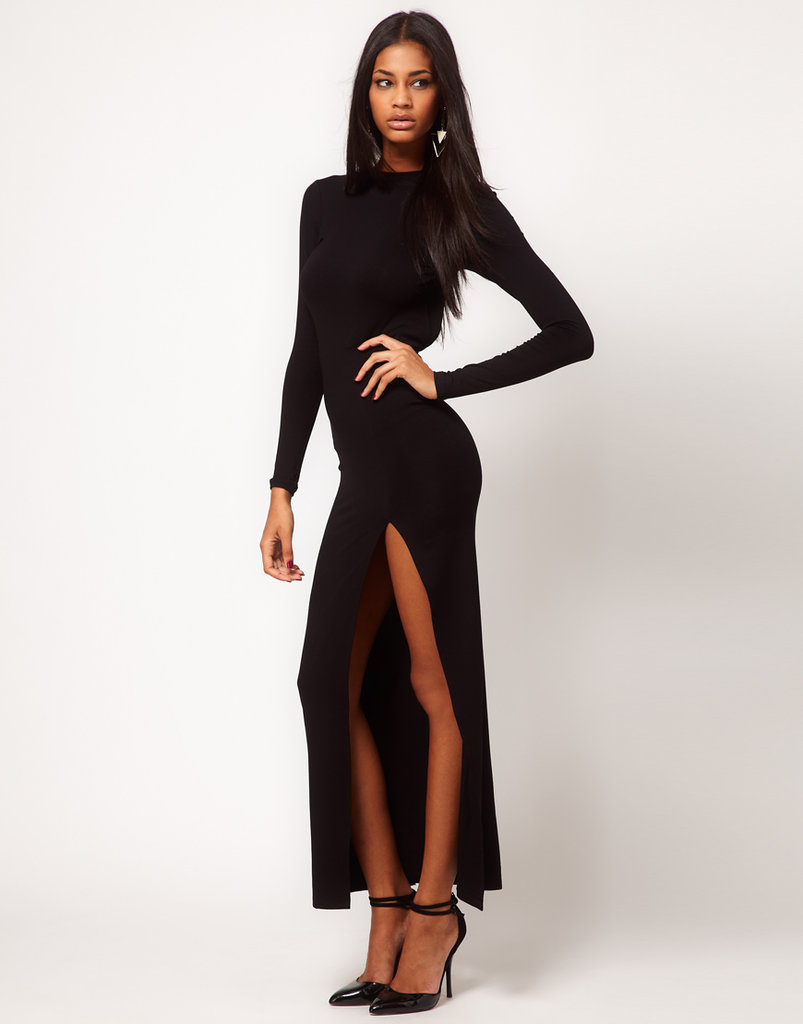 On the hunt for something a little more black-tie worthy? This dramatic ASOS Maxi Dress with Thigh Split and Scoop Back ($78) should do the trick.