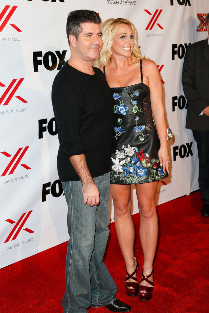 Britney Spears and Simon Cowell attended an X Factor viewing party.