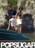 Matt and Luciana Damon went for a swim in Lake Como during a June 2004 visit.
