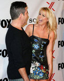 Britney Spears and Simon Cowell shared a laugh.