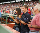Matt and Luciana Damon cheered on the Red Sox in July 2004.