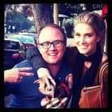 Delta Goodrem caught up with her friend, gossip columnist Jonathan Moran. Source: Twitter user delta_goodrem