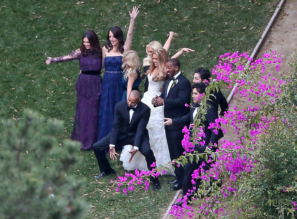 Jessica Simpson, Zach Braff, and other friends posed for a group photo at CaCee Cobb and Donald Faison's wedding.