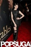 Anne Hathaway wore a black gown for the NYC premiere.