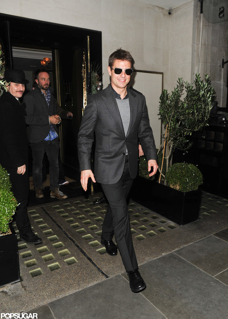 Tom Cruise left Scott's after dinner with Emily Blunt.