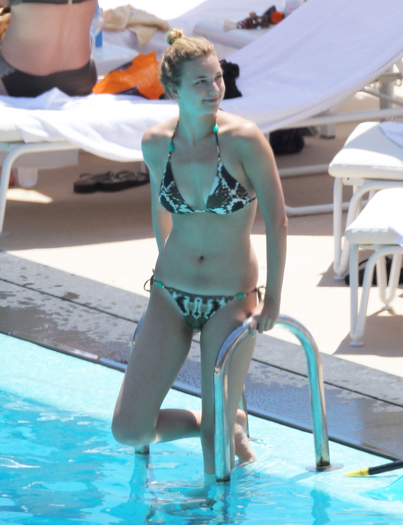Emily VanCamp cooled off in the pool during a trip to Monaco in June 2012.