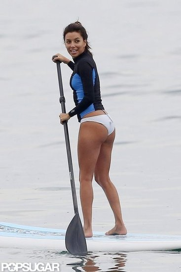 Eva Longoria went paddleboarding in Malibu in white bikini bottoms back in July.