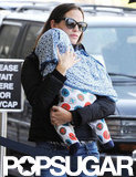 Jennifer Garner headed into LAX with baby Samuel on Sunday.
