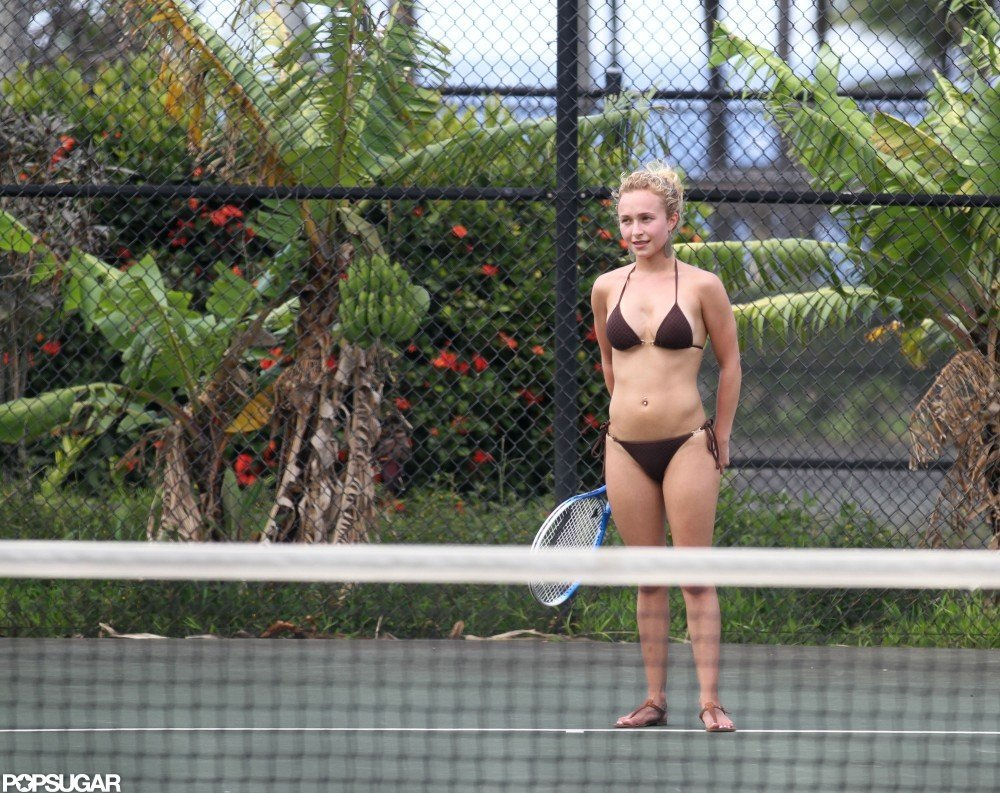 In April 2012, Hayden Panettiere played tennis in her bikini during a vacation in Hawaii.