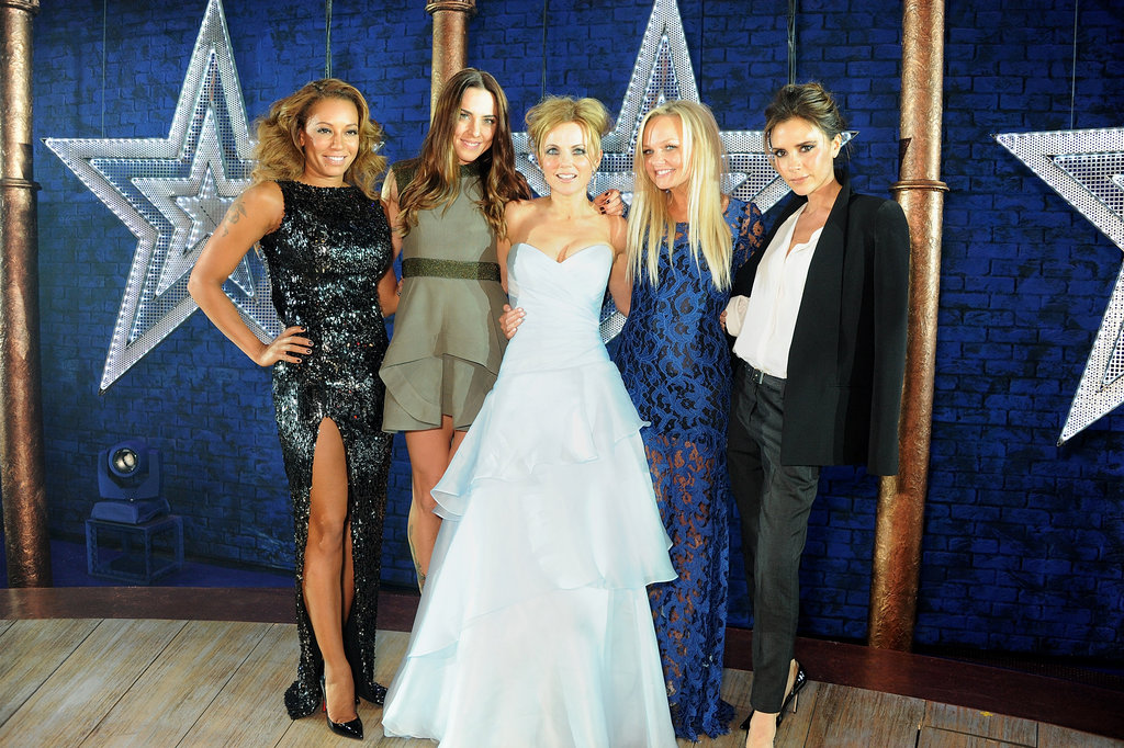 Victoria Beckham took the stage with her former band mates, Melanie Chisholm, Melanie Brown, Emma Bunton, and Geri Halliwell at the Viva Forever! press night at London's Piccadilly Theatre.