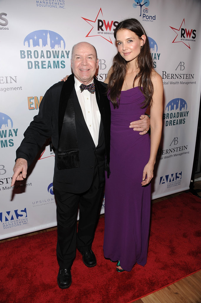 Katie Holmes posed for photos with Jack O'Brien at the Broadway Dreams Foundation Gala in NYC.