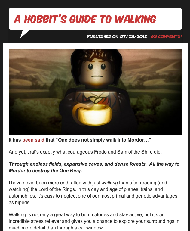 NerdFitness's Hobbit's Guide to Walking